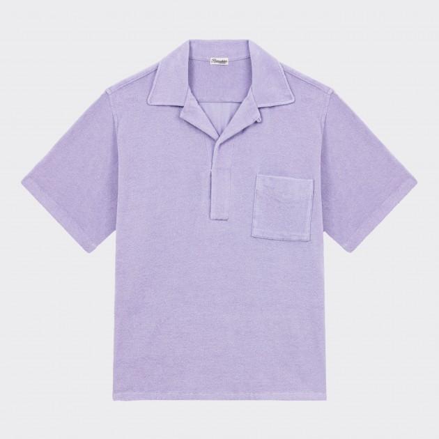 Polo Col Ouvert en Éponge de Coton & Lin: Lilac