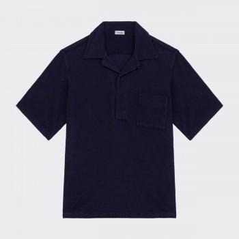 Terry Cloth Camp Collar Polo : Navy