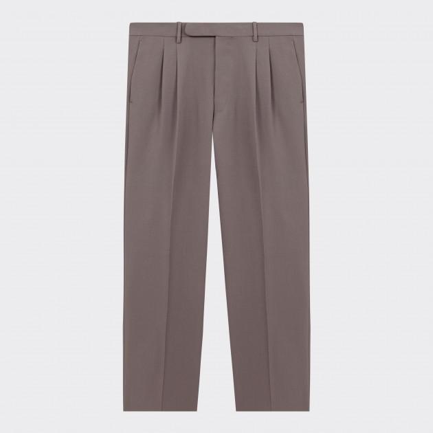 Pantalon Twill à Pinces : Gris Tourterelle