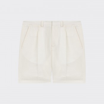 Short à Pinces en Coton & Lin : Écru