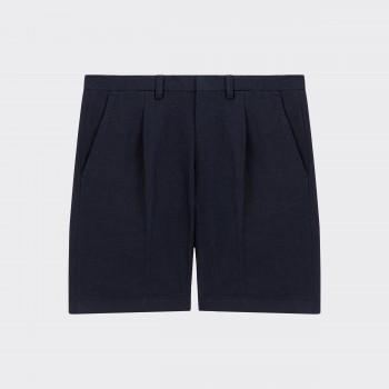 Short à Pinces en Coton & Lin : Marine