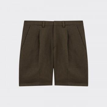 Short à Pinces en Coton & Lin : Olive