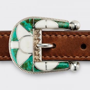 Ranger Belt Amérindienne en Turquoise & Ivoire : Vert/Blanc