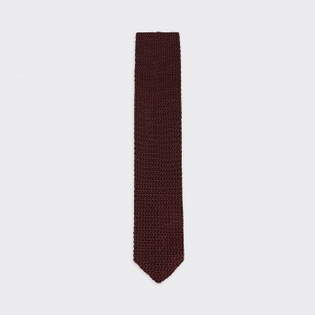V-Shaped Knitted Tie: Brown