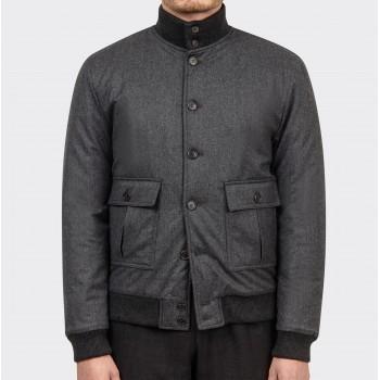Water Resistant Wool A-1 Jacket : Grey