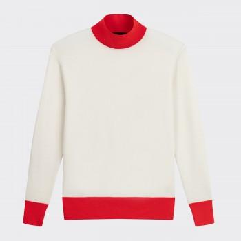 Col Cheminé en Laine : Blanc/Rouge